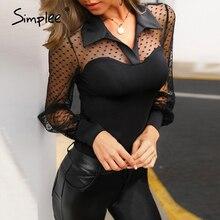 Simplee Sexy patchwork polka dot long sleeve women blouse Elegant spring summer female highstreet tops shirt Party club slim top