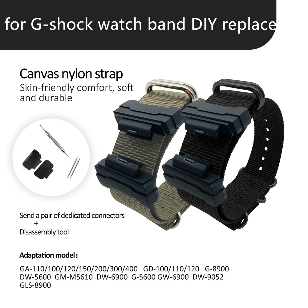Watch Accessories Connector Nylon Strap For Casio G-SHOCK GA100 GA400DW5600M5610DW6900 BABY-G BA110 120 Resin Strap Watch Band