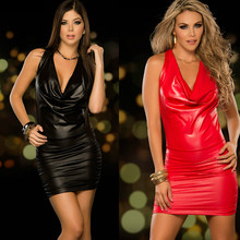 Body Sexy Hot Erotic Pu Leather Dress Sissy Lingerie Mini Dress Clubwear Gown Halter Fetish Dress Backless Black Red Body Open(China)