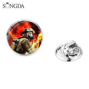 Значки для мужчин, Значки для профессиональных пожарных, значок из стекла, круглая брошь-значок, декоративное пальто для рубашки