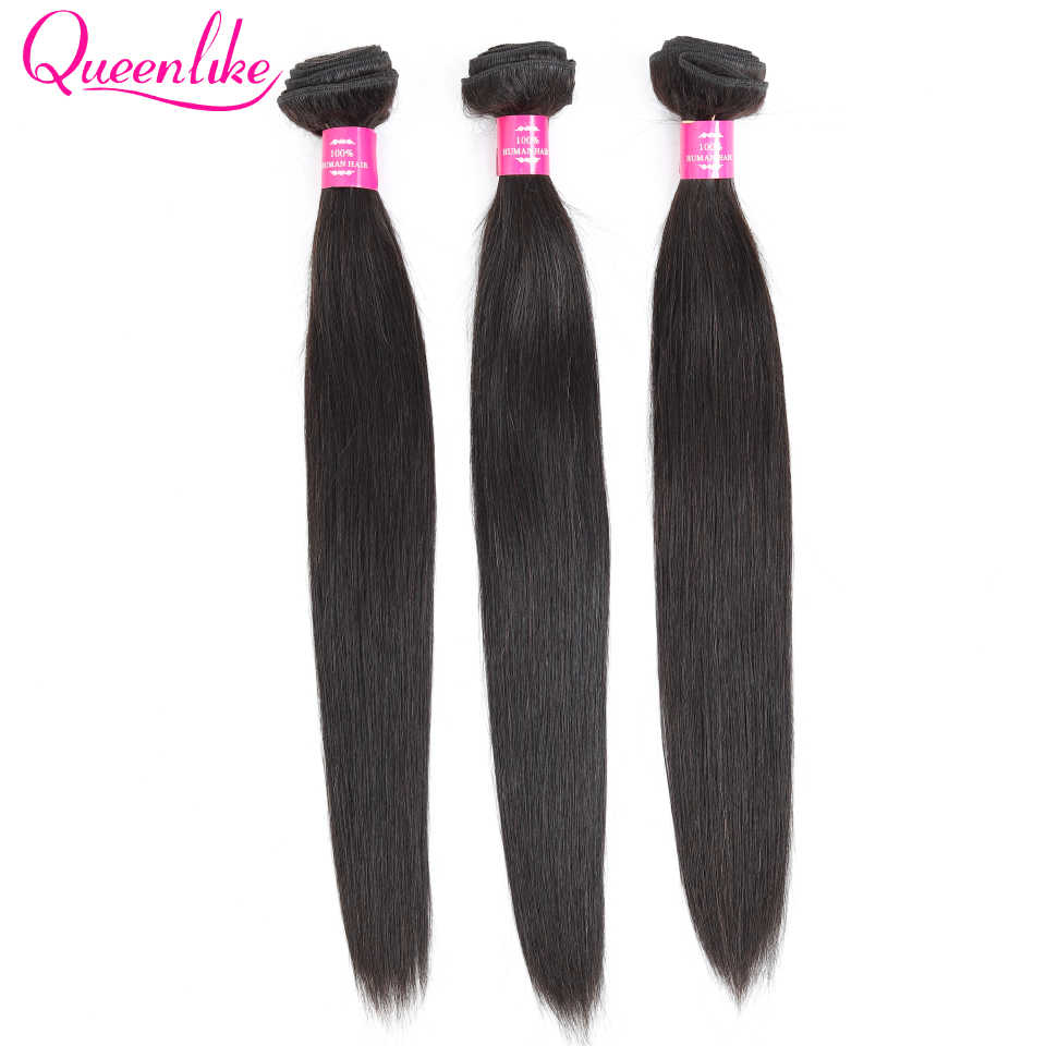 Queenlike Hair Products 3 4 Pieces 100% Natural Human Hair Weave Bundles Remy Natural Color Malaysian Straight Hair Bundles