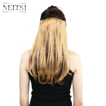 Neitsi 3pcsset 14'' Hairpiece Synthetic Clip In Hair Extensions Straight 8 Clips High Temperature Fake Hairpiece Gold Blonde