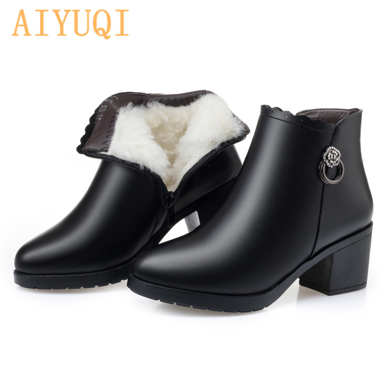 AIYUQI Winter New Wool Women Booties Genuine Leather Large Size 41 42 43 Women Ankle Boots Warm High heel Snow Boots Women