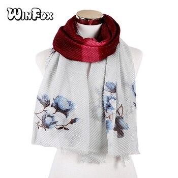 Winfox 2018 NEW Pleated Hijabs Scarf Elegant Floral Print shawl Muslim Hijab Women Wrinkle Scarves Shawls Soft Muffler traditional nanjing specialty yunjin muffler scarves scarf classic women shawl wrap shawls chinese new year high quality gift