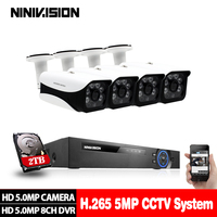 5MP Ultra HD 8CH DVR Kit H.265+ CCTV Camera Security System 5MP CCTV System IR Outdoor Night Vision Video Surveillance Kits