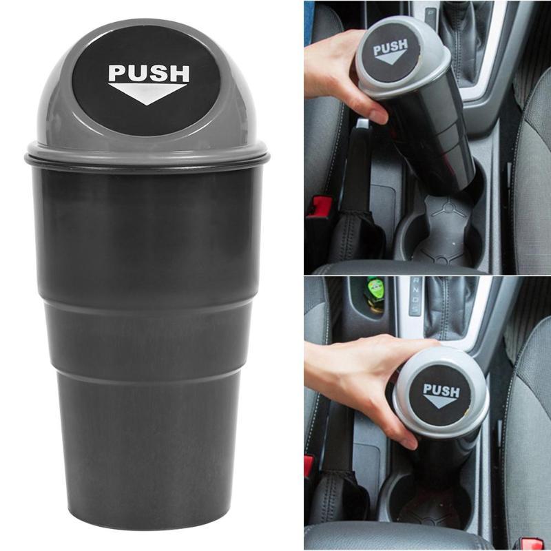 HITECHLIFE HETICHLIFE Car Mini Dustbin Car Storage Box Trash Can Interior Accessories Black//Blue