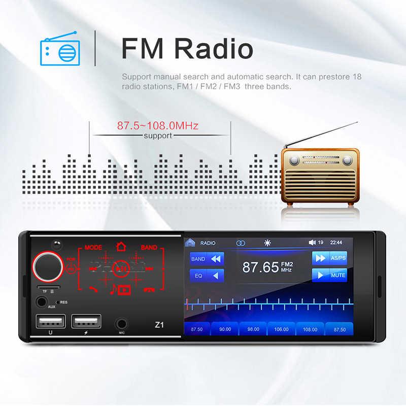 """1 Din راديو السيارة مرآة رابط MP5 لاعب بلوتوث يدوي USB TF Aux Mic المدخلات 4.1 """"شاشة تعمل باللمس ISO ستيريو نظام رئيس وحدة Z1"""