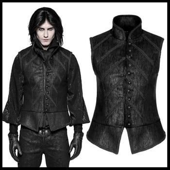PUNK RAVE Men Steampunk Retro Palace Style Waistcoat Gothic Black Vampire Cospaly Fashion Men's Vest Formal Party Men Jacket