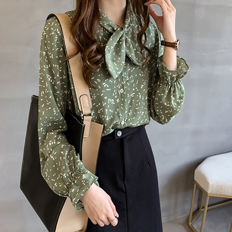 2019 Autumn Blouses Women Floral Korean Style Blouse Chiffon Shirt Lace Up Collar Bow Tie Long Sleeve Top Blouses