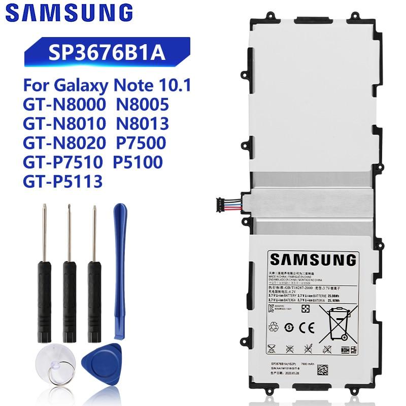 Batterie de tablette Samsung originale pour Galaxy Tab 10.1 S2 10.1 N8020 GTN8013 P7510 P7500 P5110 P5100 N8000 N8010 P5113 SP3676B1A