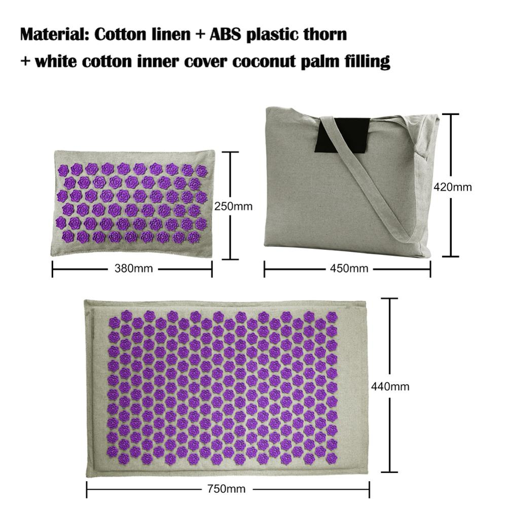 Lotus Yoga Mats with Acupressure Massage and Pillow Set of High quality Cotton and Linen available with Spike Cushion 2