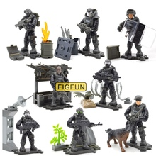 SWAT Mega Toy Figure Set War Military Series with Weapons Dog Call Telescope Building Blocks Bricks Toys for Children