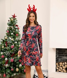 Winter Christmas Dresses Women Print Cartoon Dress Long Sleeve Casual Plus Size Midi Party Dresses Vestidos Robe 3