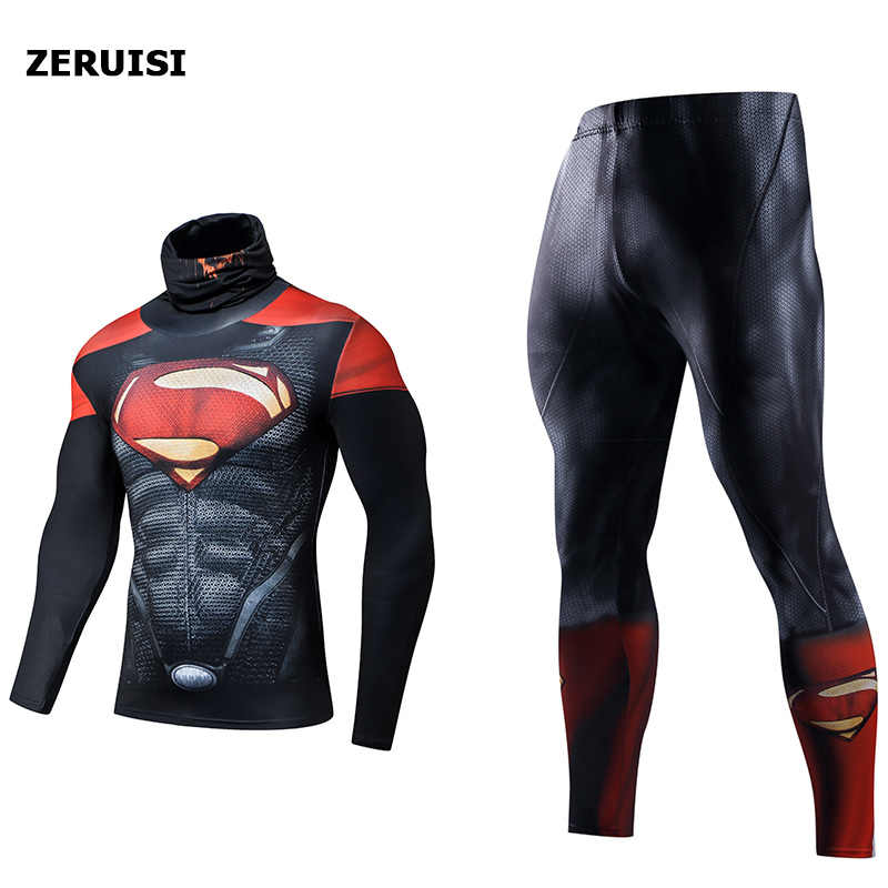 Sıkıştırma seti 3D baskılı erkek eşofman spor giyim termal döküntü bekçi süper kahraman örümcek adam yüksek yaka yaka spor elbise