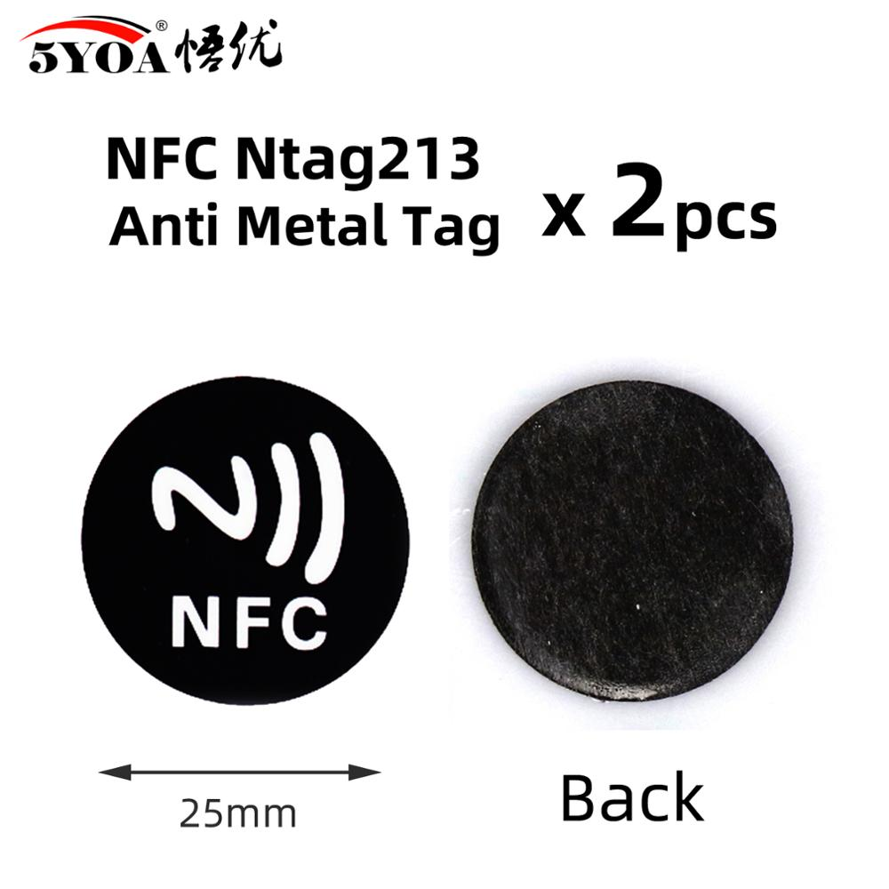 2pcs NFC Tag Ntag213 Tags Anti Metal Sticker 13.56MHz ISO14443A NTAG 213 Metallic Badges Key Token Patrol Universal Label