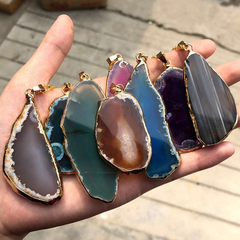 Agate Slice Quartz Stones Natural Stone Pendant Necklace Jewelry Reiki Healing