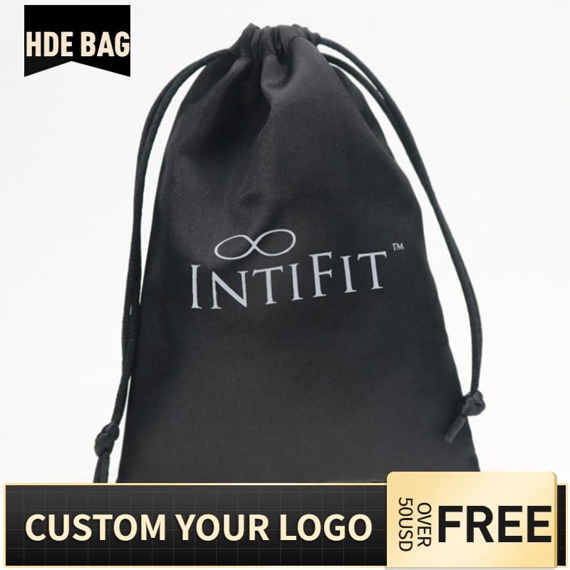 Custom Logo Black Satin Packaging Bag For Jewelry / Makeup / Wedding / Party Virgin Hair Ribbon Drawstring Bag