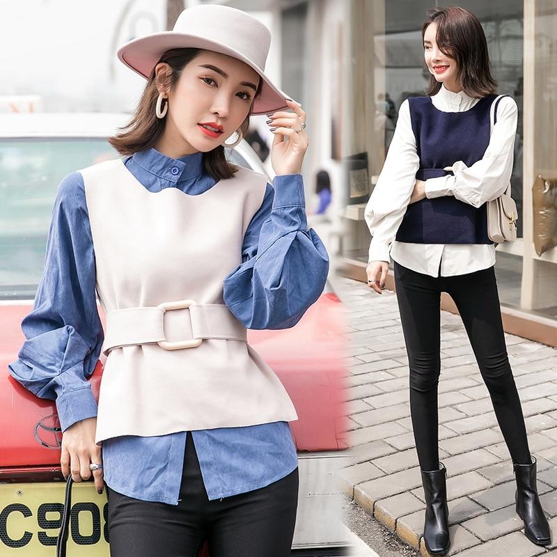 2019 Autumn Clothing New Style Korean-style Loose-Fit Lantern Sleeve Shirt Women's Sleeveless Woolen Vest Waistcoat Two-Piece Se