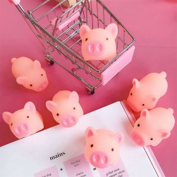 Kawaii Pink Pig Animal Squeeze Toy Baby Bath Toy Bedroom Doorbell Practical Jokes Kids Gift Y4UD