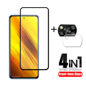 4-in-1 For Xiaomi Poco X3 Glass For Poco X3 Tempered Glass Protective Full Screen Protector For Poco M2 F2 Pro X2 X3 Lens Glass
