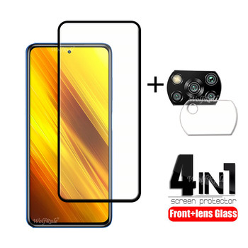 4-in-1 For Xiaomi Poco X3 Glass For Poco X3 Tempered Glass Protective Full Screen Protector For Poco M2 F2 Pro M3 X3 Lens Glass