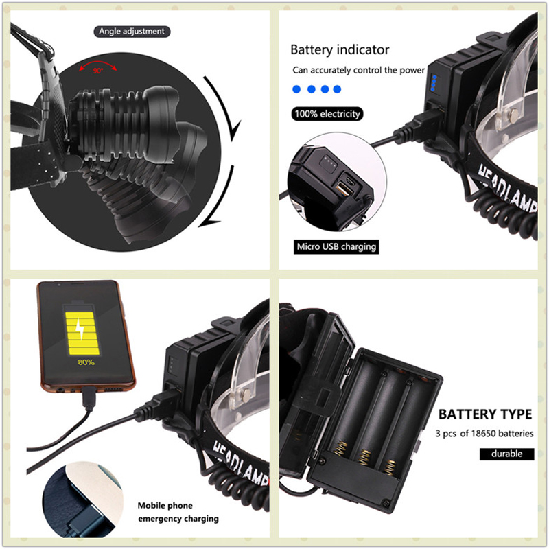 Купить powerful 8000lm xhp902 led headlamp usb rechargeable headlight