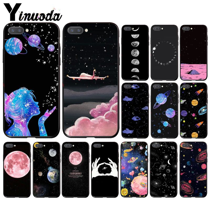 Yinuoda black white moon stars space Cloud Girl Travel Plane Phone Case for Huawei Honor 8A 8X 9 10 20 Lite 7A 5A 7C 10i 20i image