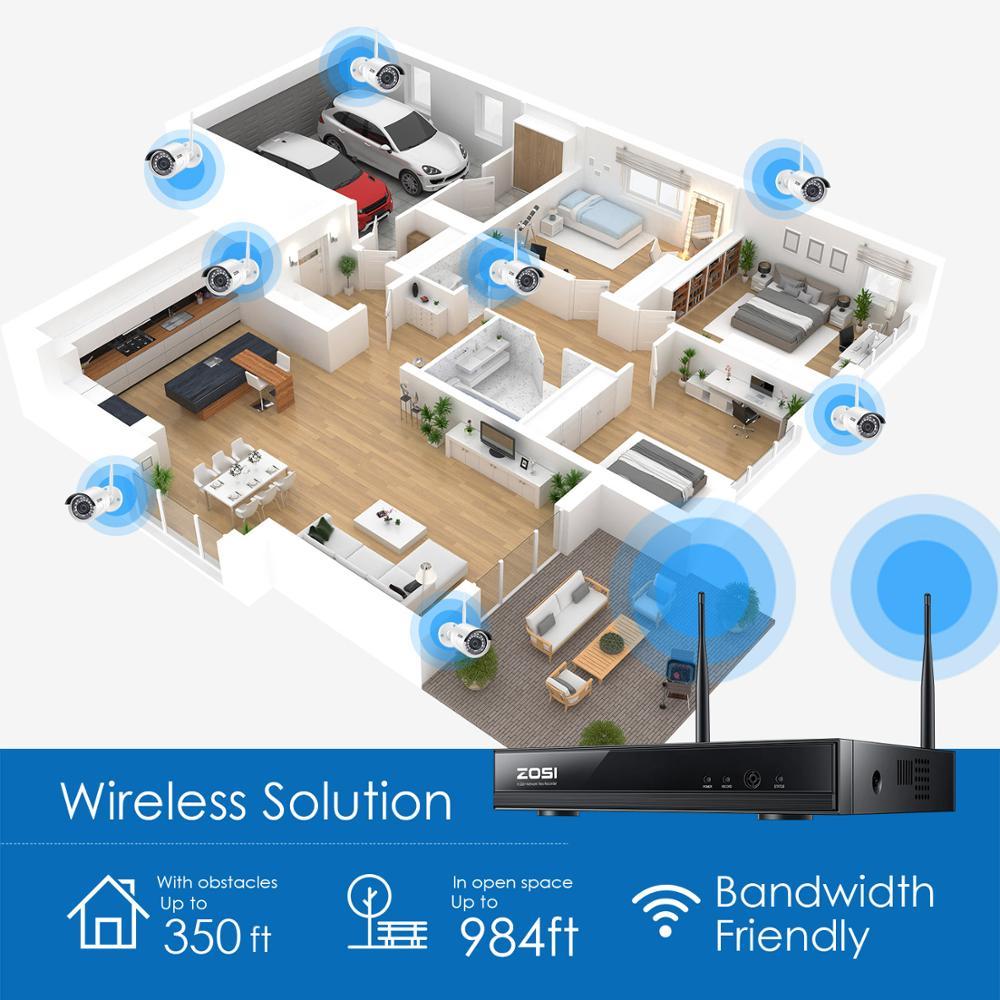 ZOSI Sistema de CCTV inalámbrico 8CH H.265 + 1080P NVR 2CH/4CH 2MP IR-CUT cámara CCTV al aire libre sistema de seguridad IP Kit de videovigilancia - 5