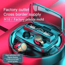 M18 tws impressão digital toque fone de ouvido bluetooth sem fio carregamento à prova dhifi água fones estéreo alta fidelidade para esportes
