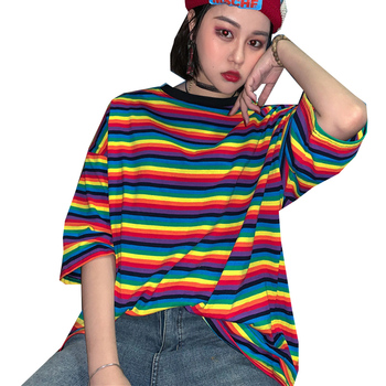 Summer Rainbow Striped Women T Shirt O-neck Short Sleeve Ladies Tee Tops Fashion Casual Female Tshirt Oversize Women's T-shirts shein color block cut and sew leopard panel top short sleeve o neck casual t shirt women 2019 summer leisure ladies tshirt tops