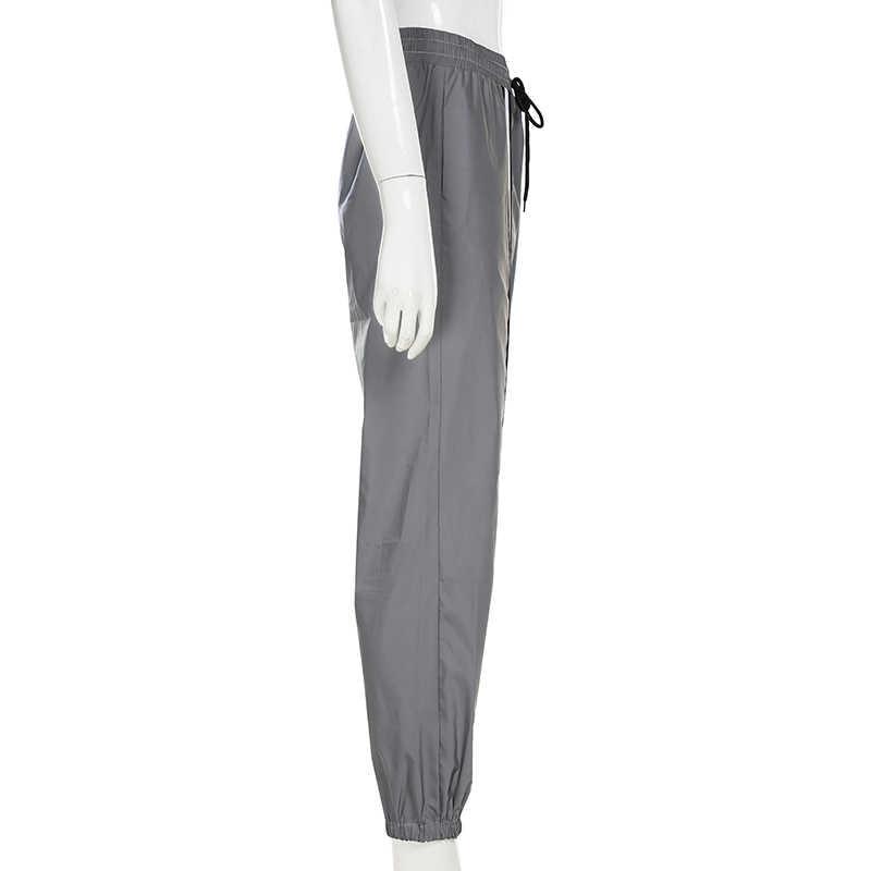 Weekeep женские уличные Светоотражающие Брюки с высокой талией брюки-карандаш в стиле пэчворк 2019 серые модные брюки женские низ
