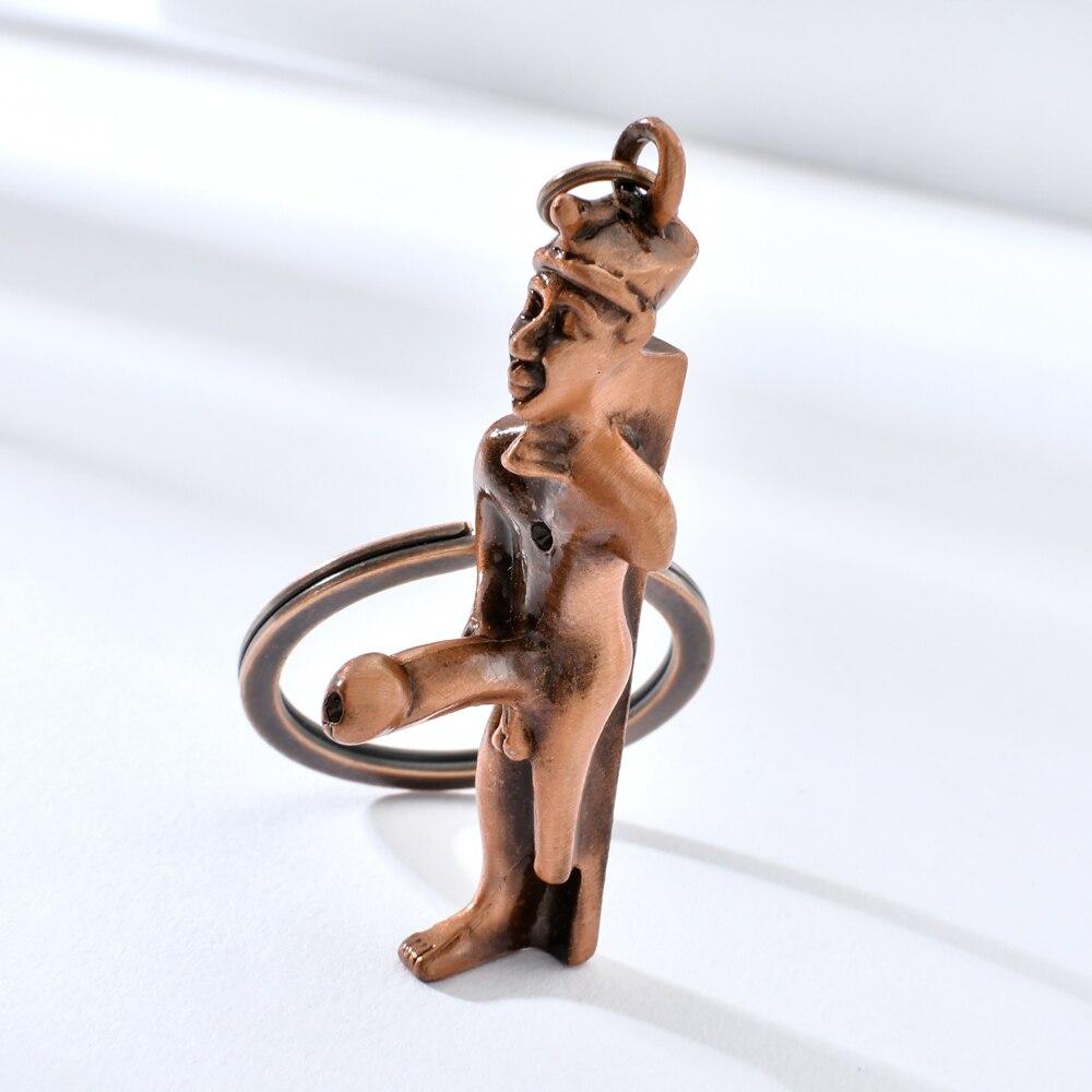 Vicney New Arrival Giant Penis Bronze Portrait Key Chain Fashion Ancient Egypt Jewelry Keychain Gift For Man Boy Car Key Ring