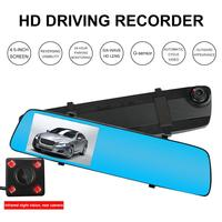 Car HD Driving Recorder + Rear Camera 170 Wide Angle 4.5 Inch Support Car Ignition Parking Monitoring G sensor Microphone USB