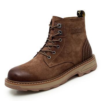 Męskie buty ciepłe zimowe buty męskie zimowe buty męskie buty buty wojskowe buty męskie dorosłe buty męskie wysokie buty z cholewami pojedyncze buty * tanie i dobre opinie EUDILOVE Podstawowe Prawdziwej skóry Skóra bydlęca ANKLE Stałe NONE Denim Okrągły nosek Wiosna jesień Mieszkanie (≤1cm)