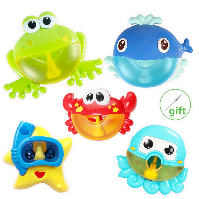 Bubble Machine Bath Toy Frog Gun Baby Gift Water Games Kids Baby Bubble Maker Pool Swimming Machine Toys For Bath Rubber Toys