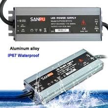 LED ultra ince su geçirmez şerit güç kaynağı IP67 45W/60W/100W/120W/150W/200W/250W/300W trafo 175V ~ 240V DC12V 24V
