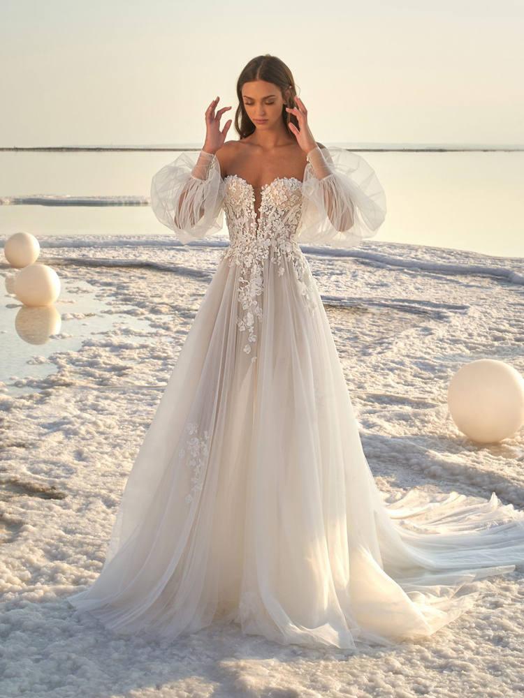 Wedding-Dress Puff-Sleeve Tulle Applique A-Line Verngo Floral Sexy Long Beach Silk