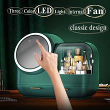 High Quality Makeup Storage Case LED Light With Fan Make Up Organizer Drawer Desktop Skincare Lipstick Cosmetic Beauty Box