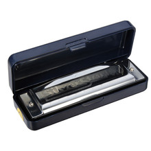 De alta calidad de Estrella de Plata HOHNER llave C 10 agujeros Blues Jazz armónica órgano con caja de Instrumentos