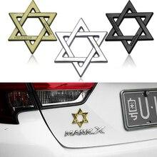 Car Styling 3D Metal Israel Jewish david Star Emblem Decal Car Sticker for TOYOTA AUDI