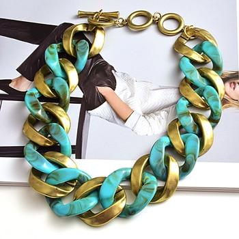 New design Matte-gold High quality Metal acrylic  Statement Fashion bracelet  2