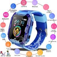 Lige novo 4g crianças relógio inteligente criança sos chamada de emergência smartwatch gps posicionamento rastreamento ip67 à prova dip67 água azul relógio criança presente