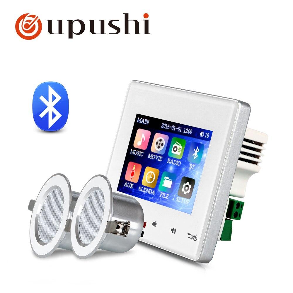 Tüketici Elektroniği'ten Anons Sistemi/Ses Tertibatı'de Bluetooth duvar alıcısı 2.8 inç duvar aduio amplifikatör ile 3 inç su geçirmez tavan hoparlör banyo için ses sistemi title=