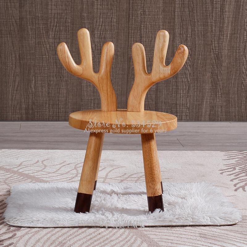 29% tabouret en bois massif pour enfants dessin animé maternelle bébé chaise chêne animal chaise pour enfants cerf blanc lapin renne chaise