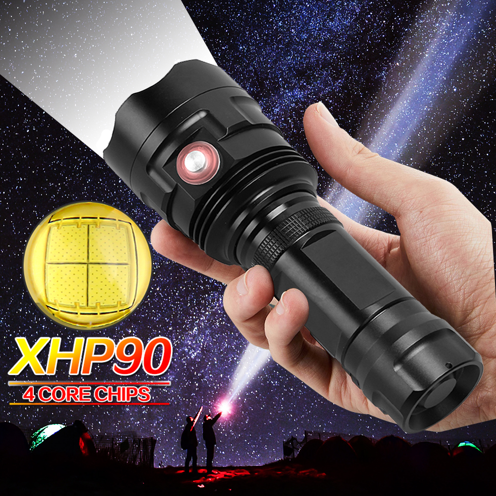High Power XHP90 USB Rechargeable LED Flashlight Powerful Flashlight Waterproof Outdoor Hunting Light Using 18650 Or 26650 Batte