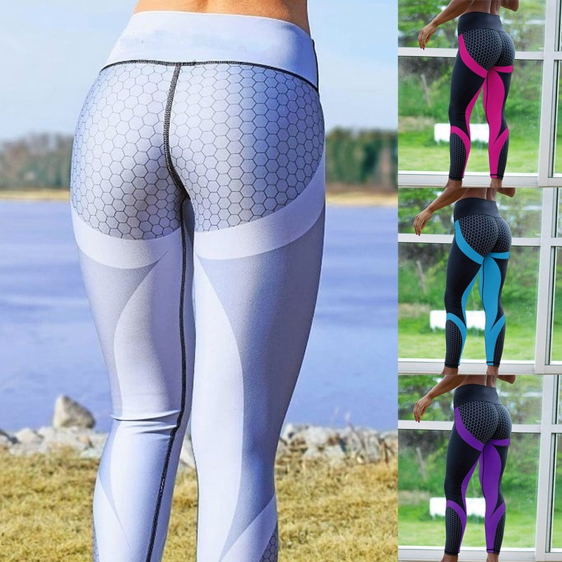 Sexy Mesh Printed Leggings fitness For Women clothing Sporting Workout Leggins mujer Elastic Slim Pants push