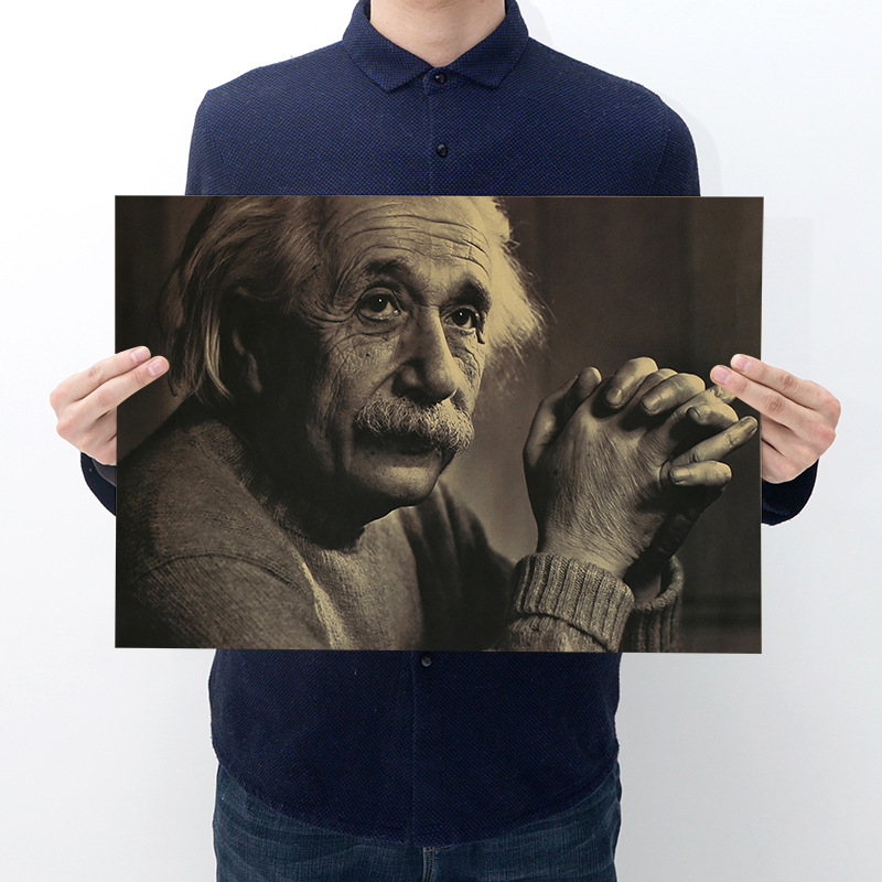 Room decoration celebrity Einstein poster poster kraft paper retro cafe bar home decoration painting art wall sticker