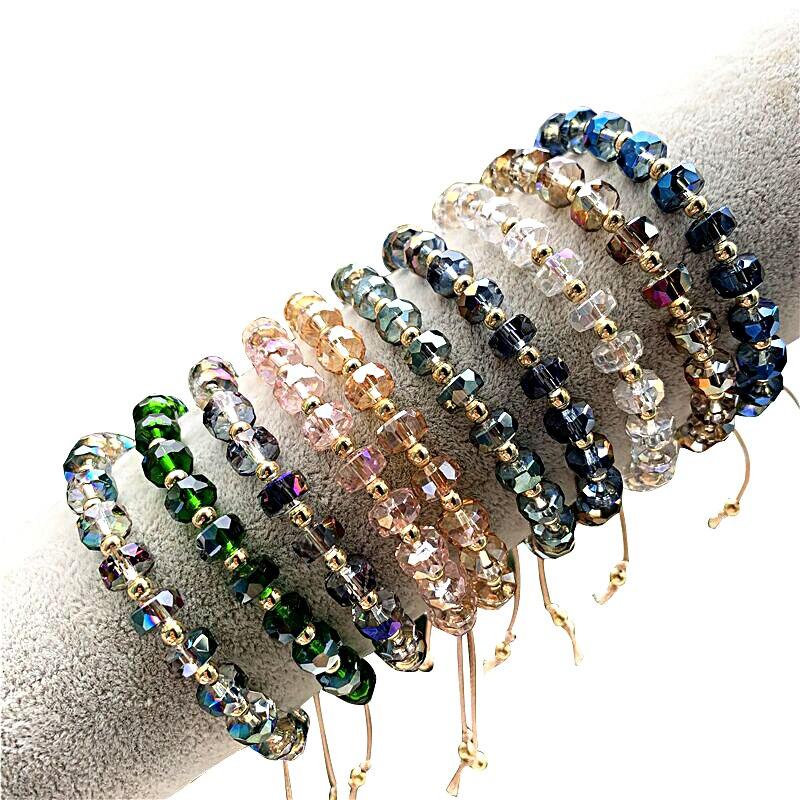 Crystal Bracelet Glass Beads Natural Freshwater Pearl Bracelets For Women Line Handmade Strand Bracelets Beaded Bracelet