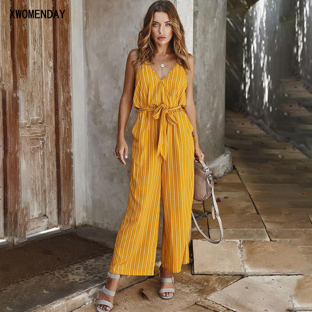 Rompers Womens Jumpsuit Striped Cotton Backless Slip Tops Wide Leg Pants Suits One Piece 2020 Elegance Summer Overalls For Women