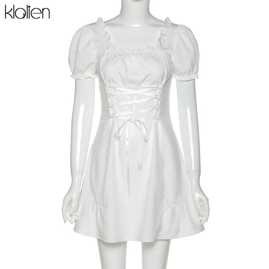 KLALIEN Fashion Elegant Bow White Female Mini Dress Summer Party Birthday Festival Cute Sexy French Romantic Silk Dress Women 5